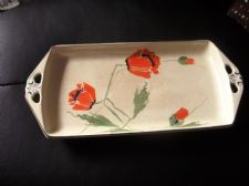 VINTAGE ART DECO SMALL PLATTER BURSLEY WARE HANDPAINTED POPPIES BLACK RIM 2314